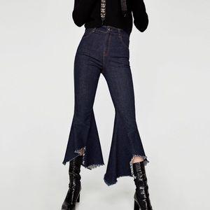 Zara Hi Rise Crop Wide Leg Frayed Hem Jeans